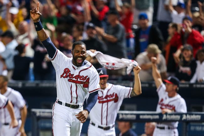 June 17, 2012; Atlanta, GA, USA; Atlanta Braves right fielder Jason Heyward (22) celebrates a first baseman Freddie Freeman (5) walk off two run home run in the ninth inning against the New York Mets at Turner Field. The Braves won 2-1. Mandatory Credit: Daniel Shirey-USA TODAY Sports