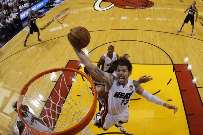 Jun 18, 2013; Miami, FL, USA; Miami Heat shooting guard Mike Miller (13) shoots against the San Antonio Spurs during the second half of game six in the 2013 NBA Finals at American Airlines Arena. Mandatory Credit: Kevin C. CoxPool Photo-USA TODAY Sports