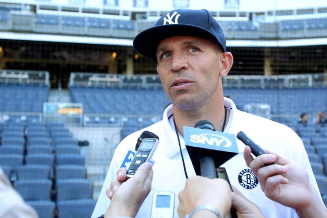 Jun 19, 2013; Bronx, NY, USA; Brooklyn Nets head coach Jason Kidd meets with the media before the second game of a doubleheader between the New York Yankees and the Los Angeles Dodgers at Yankee Stadium. Mandatory Credit: Brad Penner-USA TODAY Sports
