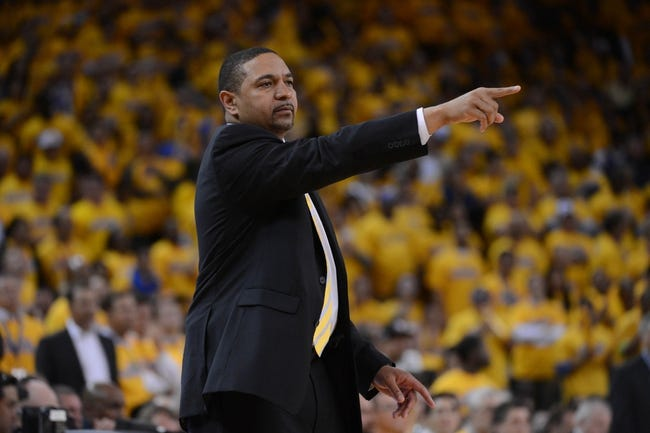 May 16, 2013; Oakland, CA, USA; Golden State Warriors head coach Mark Jackson instructs during the fourth quarter in game six of the second round of the 2013 NBA Playoffs against the San Antonio Spurs at Oracle Arena. The Spurs defeated the Warriors 94-82.  Mandatory Credit: Kyle Terada-USA TODAY Sports