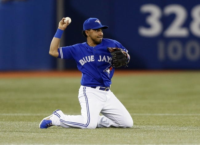 Jun 22, 2013; Toronto, Ontario, CAN; Toronto Blue Jays third baseman Maicer Izturis (3) makes a throw to start a double play against the Baltimore Orioles  in the first inning at the Rogers Centre. Mandatory Credit: John E. Sokolowski-USA TODAY Sports
