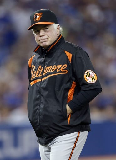Jun 22, 2013; Toronto, Ontario, CAN; Baltimore Orioles manager Buck Showalter (26) comes off the field after making a pitching change against the Toronto Blue Jays at the Rogers Centre. Toronto defeated Baltimore 4-2. Mandatory Credit: John E. Sokolowski-USA TODAY Sports
