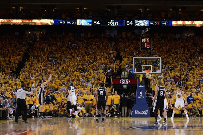 May 12, 2013; Oakland, CA, USA; San Antonio Spurs shooting guard Manu Ginobili (20, second from left) shoots the ball during the fourth quarter in game four of the second round of the 2013 NBA Playoffs against the Golden State Warriors at Oracle Arena. The Warriors defeated the Spurs 97-87 in overtime. Mandatory Credit: Kyle Terada-USA TODAY Sports