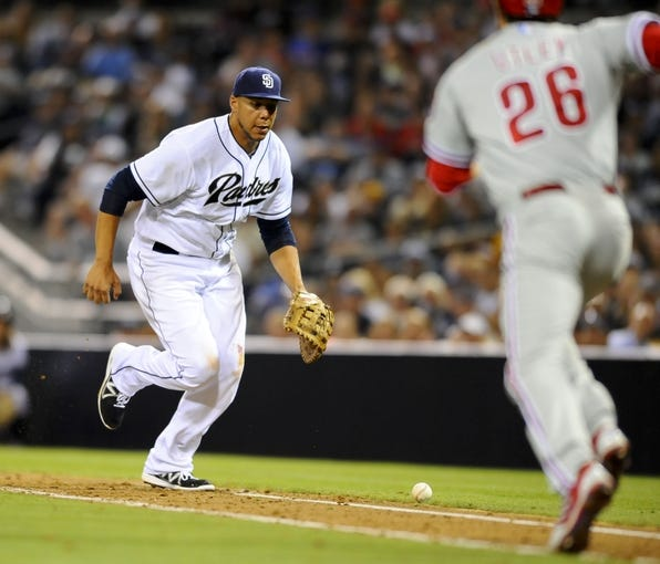 June 25, 2013; San Diego, CA, USA; San Diego Padres first baseman Kyle Blanks (88) loses control of the ball after a hit by Philadelphia Phillies second baseman Chase Utley (26) during the sixth inning at Petco Park.  Mandatory Credit: Christopher Hanewinckel-USA TODAY Sports
