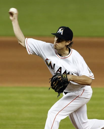 Jun 26, 2013; Miami, FL, USA;   Miami Marlins starting pitcher Kevin Slowey throws a pitch against the Minnesota Twins at Marlins Park. The Marlins won 5-3. Mandatory Credit: Robert Mayer-USA TODAY Sports
