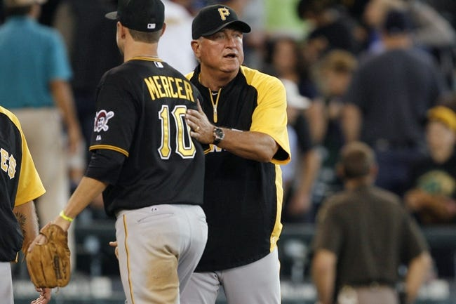 Jun 26, 2013; Seattle, WA, USA; Pittsburgh Pirates manager Clint Hurdle greets his players following the final out against the Seattle Mariners at Safeco Field. Pittsburgh defeated Seattle, 4-2. Mandatory Credit: Joe Nicholson-USA TODAY Sports