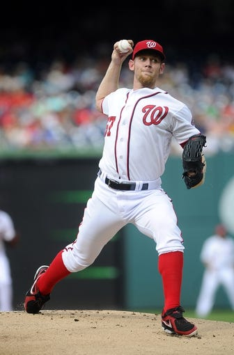 Jun 27, 2013; Washington, DC, USA; Washington Nationals starting pitcher Stephen Strasburg (37) throws during the first inning against the Arizona Diamondbacks at Nationals Park. Mandatory Credit: Brad Mills-USA TODAY Sports