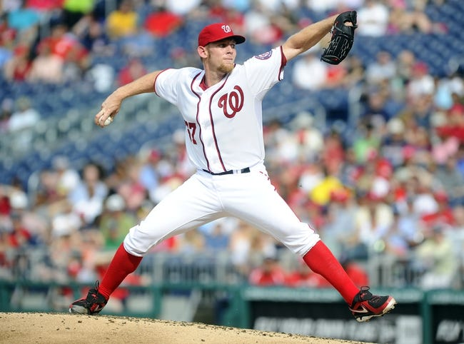 Jun 27, 2013; Washington, DC, USA; Washington Nationals starting pitcher Stephen Strasburg (37) throws during the second inning against the Arizona Diamondbacks at Nationals Park. Mandatory Credit: Brad Mills-USA TODAY Sports