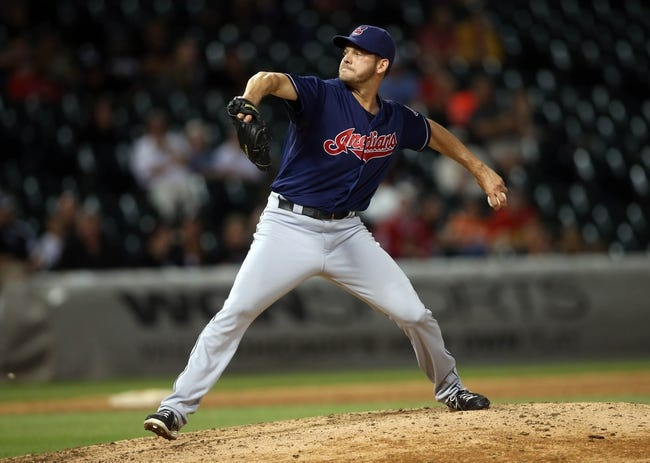 Jun 28, 2013; Chicago, IL, USA; Cleveland Indians relief pitcher Rich Hill throws a pitch against the Chicago White Sox during the sixth inning in the second game of a baseball doubleheader at US Cellular Field. Mandatory Credit: Jerry Lai-USA TODAY Sports