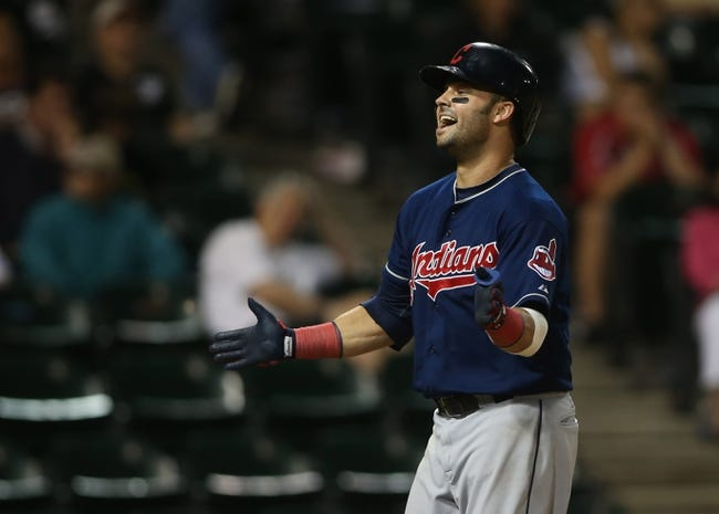 Jun 28, 2013; Chicago, IL, USA; Cleveland Indians first baseman Nick Swisher reacts after hitting a solo home run against the Chicago White Sox in the 9th inning of the second game of a baseball doubleheader at US Cellular Field. Mandatory Credit: Jerry Lai-USA TODAY Sports