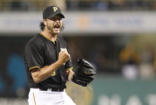 Jun 29, 2013; Pittsburgh, PA, USA; Pittsburgh Pirates relief pitcher Jason Grilli (39) reacts after the final out of the ninth inning against the Milwaukee Brewers at PNC Park. The Pittsburgh Pirates won 2-1. Mandatory Credit: Charles LeClaire-USA TODAY Sports