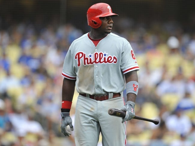 June 30, 2013; Los Angeles, CA, USA; Philadelphia Phillies first baseman Ryan Howard (6) reacts after striking out in the seventh inning against the Los Angeles Dodgers at Dodger Stadium. Mandatory Credit: Gary A. Vasquez-USA TODAY Sports