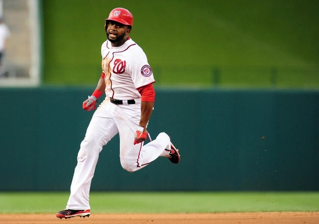 Jul 1, 2013; Washington, DC, USA; Washington Nationals outfielder Denard Span (2) rounds the bases and scores a run during the third inning against the Milwaukee Brewers at Nationals Park. Mandatory Credit: Evan Habeeb-USA TODAY Sports
