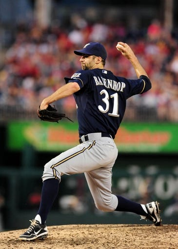 Jul 1, 2013; Washington, DC, USA; Milwaukee Brewers pitcher Burke Badenhop (31) throws a pitch in the fourth inning against the Washington Nationals at Nationals Park. Mandatory Credit: Evan Habeeb-USA TODAY Sports