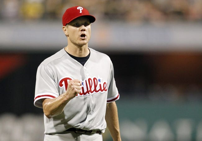 Jul 2, 2013; Pittsburgh, PA, USA; Philadelphia Phillies relief pitcher Jonathan Papelbon (58) reacts after securing the final out against the Pittsburgh Pirates during the ninth inning at PNC Park. The Philadelphia Phillies won 3-1. Mandatory Credit: Charles LeClaire-USA TODAY Sports