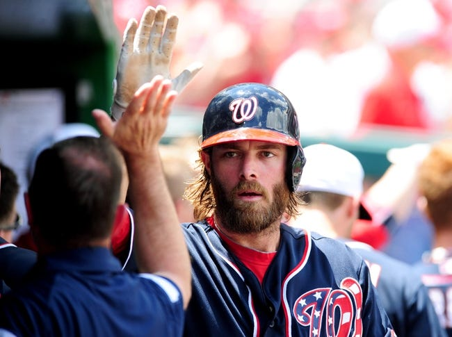 Jul 4, 2013; Washington, DC, USA; Washington Nationals outfielder Jayson Werth (28) high fives teammates after scoring a run in the sixth inning against the Milwaukee Brewers at Nationals Park. Mandatory Credit: Evan Habeeb-USA TODAY Sports