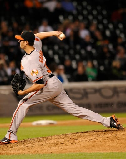 Jul 2, 2013; Chicago, IL, USA; Baltimore Orioles starting pitcher Kevin Gausman (37) delivers a pitch during the game against the Chicago White Sox at U.S. Cellular Field. White Sox defeated the Orioles 5-2. Mandatory Credit: Reid Compton-USA TODAY Sports