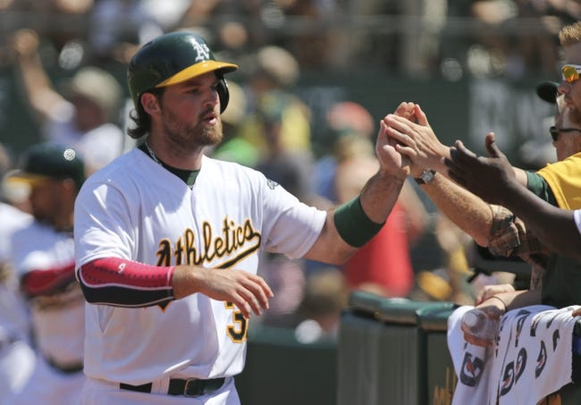 Jul 4, 2013; Oakland, CA, USA; Oakland Athletics catcher Derek Norris (36) celebrates after scoring a run on a passed ball against the Chicago Cubs during the seventh inning at O.co Coliseum. Mandatory Credit: Kelley L Cox-USA TODAY Sports