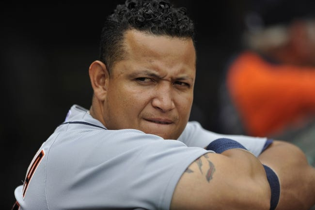 Jul 6, 2013; Cleveland, OH, USA; Detroit Tigers third baseman Miguel Cabrera (24) before a game against the Cleveland Indians at Progressive Field. Mandatory Credit: David Richard-USA TODAY Sports