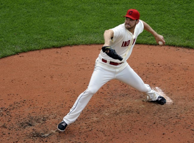 Jul 6, 2013; Cleveland, OH, USA; Cleveland Indians relief pitcher Rich Hill (53) delivers in the fourth inning against the Detroit Tigers at Progressive Field. Mandatory Credit: David Richard-USA TODAY Sports