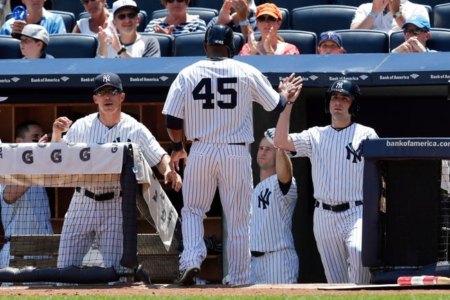 Jul 7, 2013; Bronx, NY, USA;  New York Yankees left fielder Zoilo Almonte (45) high fives his way into the dugout after scoring during the second inning against the Baltimore Orioles at Yankee Stadium. Mandatory Credit: Anthony Gruppuso-USA TODAY Sports
