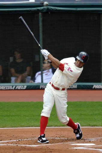 Jul 7, 2013; Cleveland, OH, USA; Cleveland Indians left fielder Michael Brantley (23) knocks in two runs with a double in the first inning against the Detroit Tigers at Progressive Field. Mandatory Credit: David Richard-USA TODAY Sports