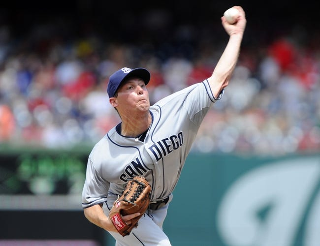 Jul 7, 2013; Washington, DC, USA; San Diego Padres starting pitcher Robbie Erlin (41) throws during the second inning against the Washington Nationals at Nationals Park. Mandatory Credit: Brad Mills-USA TODAY Sports