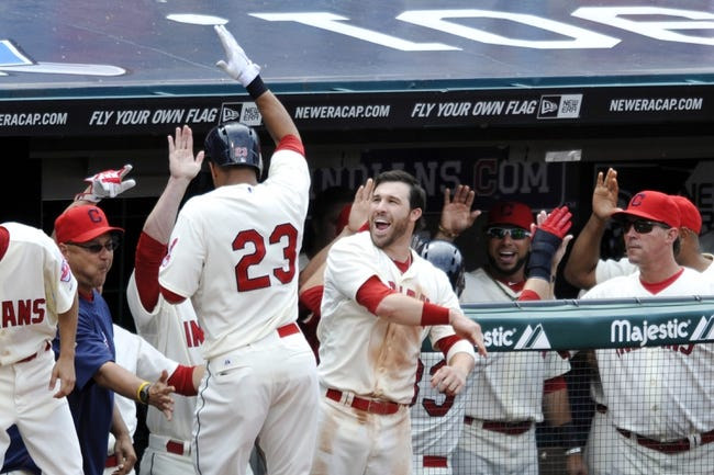 Jul 7, 2013; Cleveland, OH, USA; Cleveland Indians left fielder Michael Brantley (23) celebrates his two-run home run in the eighth inning against the Detroit Tigers at Progressive Field. Mandatory Credit: David Richard-USA TODAY Sports