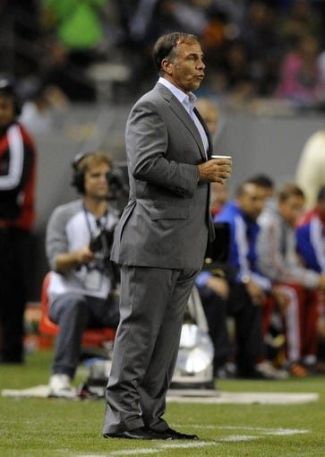 Jul 7, 2013; Carson, CA, USA; Los Angeles Galaxy coach Bruce Arena during the game against the FC Dallas during the second half at the StubHub Center. The Los Angeles Galaxy defeated the FC Dallas 2-0. Mandatory Credit: Kelvin Kuo-USA TODAY Sports