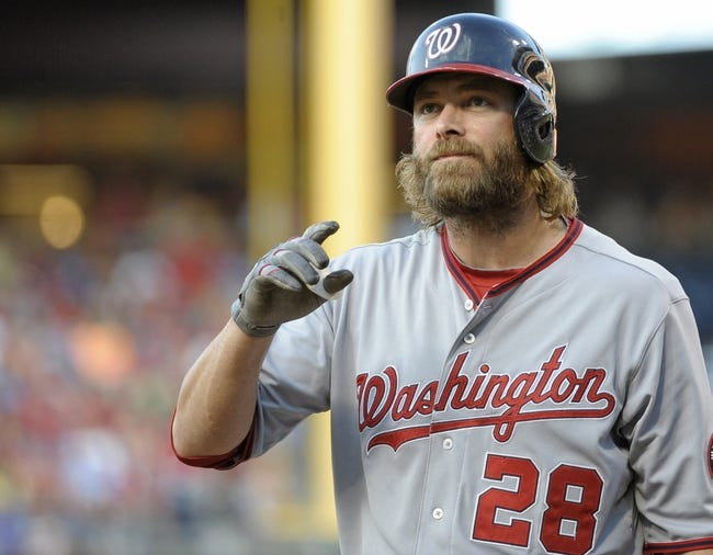 Jul 8, 2013; Philadelphia, PA, USA; Washington Nationals right fielder Jayson Werth (28) during the game against the Philadelphia Phillies at Citizens Bank Park. The Phillies defeated the Nationals, 3-2. Mandatory Credit: Eric Hartline-USA TODAY Sports