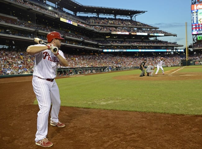 Jul 8, 2013; Philadelphia, PA, USA; Philadelphia Phillies left fielder Darin Ruf (18) waits on deck against the Washington Nationals at Citizens Bank Park. The Phillies defeated the Nationals, 3-2. Mandatory Credit: Eric Hartline-USA TODAY Sports