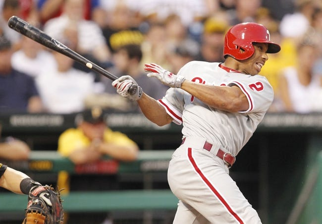 Jul 2, 2013; Pittsburgh, PA, USA; Philadelphia Phillies center fielder Ben Revere (2) at bat against the Pittsburgh Pirates during the sixth inning at PNC Park. The Philadelphia Phillies won 3-1.Mandatory Credit: Charles LeClaire-USA TODAY Sports