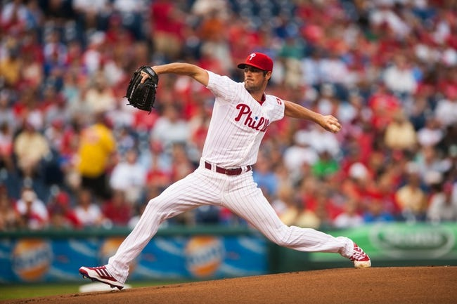 Jul 9, 2013; Philadelphia, PA, USA; Philadelphia Phillies pitcher Cole Hamels (35) delivers to the plate during the first inning against the Washington Nationals at Citizens Bank Park. Mandatory Credit: Howard Smith-USA TODAY Sports