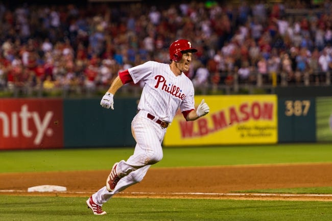 Jul 9, 2013; Philadelphia, PA, USA; Philadelphia Phillies second baseman Chase Utley (26) rounds third on his way to scoring during the sixth inning against the Washington Nationals at Citizens Bank Park. The Phillies defeated the Nationals 4-2. Mandatory Credit: Howard Smith-USA TODAY Sports