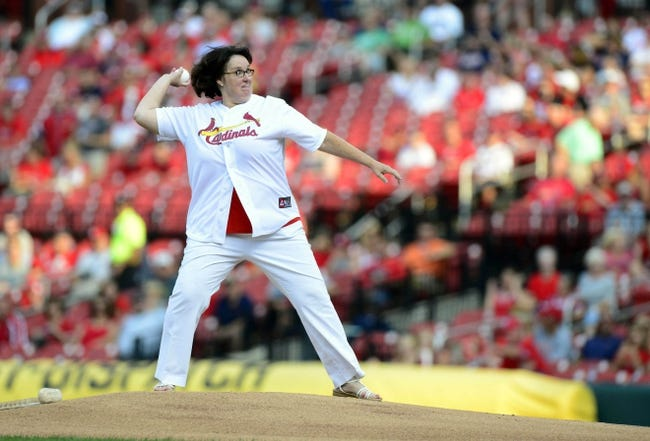 Jul 9, 2013; St. Louis, MO, USA; Television actor Phyllis Smith throws out a first pitch before a game between the St. Louis Cardinals and the Houston Astros at Busch Stadium. Mandatory Credit: Jeff Curry-USA TODAY Sports