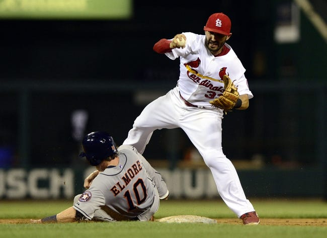 Jul 9, 2013; St. Louis, MO, USA; Houston Astros second baseman Jake Elmore (10) slides in to St. Louis Cardinals shortstop Daniel Descalso (33) and breaks up the double play during the ninth inning at Busch Stadium. St. Louis defeated Houston 9-5. Mandatory Credit: Jeff Curry-USA TODAY Sports