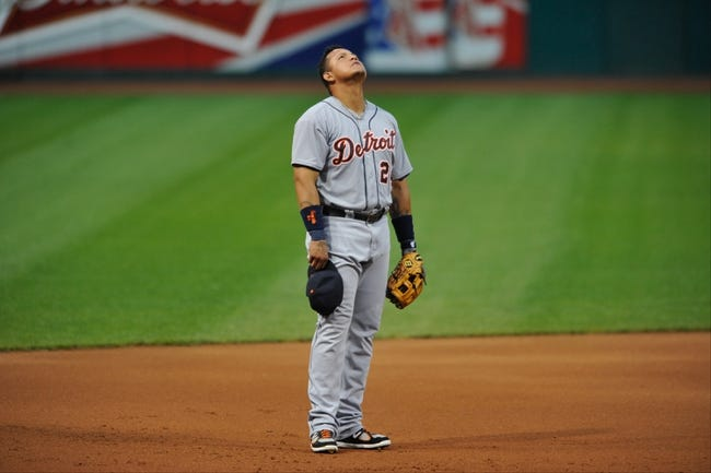 Jul 8, 2013; Cleveland, OH, USA; Detroit Tigers third baseman Miguel Cabrera (24) during a game against the Cleveland Indians at Progressive Field. Detroit won 4-2. Mandatory Credit: David Richard-USA TODAY Sports