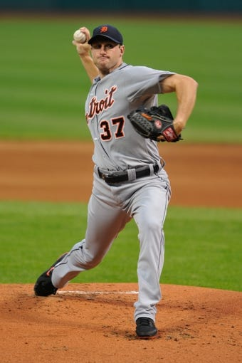 Jul 8, 2013; Cleveland, OH, USA; Detroit Tigers starting pitcher Max Scherzer (37) during a game against the Cleveland Indians at Progressive Field. Detroit won 4-2. Mandatory Credit: David Richard-USA TODAY Sports