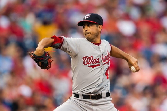 Jul 10, 2013; Philadelphia, PA, USA; Washington Nationals pitcher Gio Gonzalez (47) delivers to the plate during the first inning against the Philadelphia Phillies at Citizens Bank Park. Mandatory Credit: Howard Smith-USA TODAY Sports