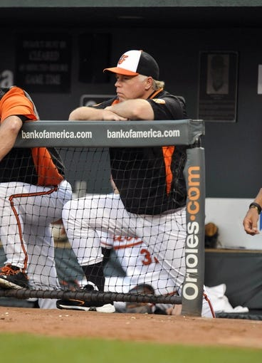 Jul 10, 2013; Baltimore, MD, USA; Baltimore Orioles manager Buck Showalter (26) watches game action during the third inning against the Texas Rangers at Oriole Park at Camden Yards. Mandatory Credit: Joy R. Absalon-USA TODAY Sports