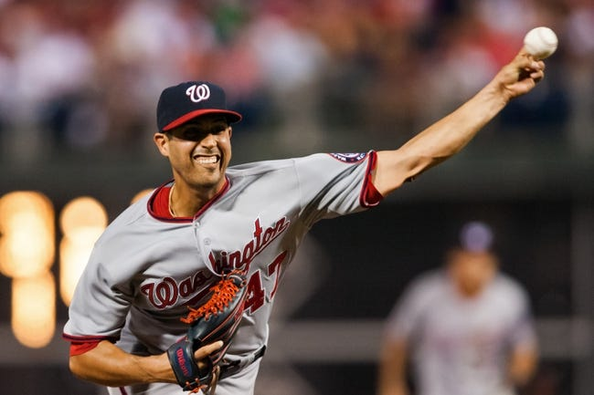Jul 10, 2013; Philadelphia, PA, USA; Washington Nationals pitcher Gio Gonzalez (47) delivers to the plate during the seventh inning against the Philadelphia Phillies at Citizens Bank Park. The Nationals defeated the Phillies 5-1. Mandatory Credit: Howard Smith-USA TODAY Sports