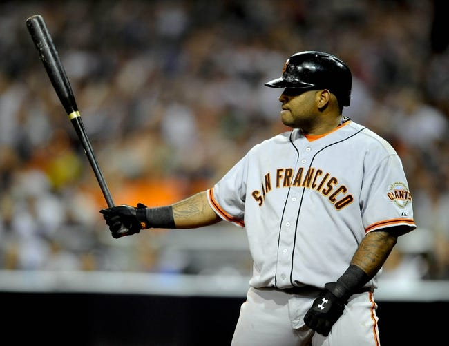 Jul 11, 2013; San Diego, CA, USA; San Francisco Giants third baseman Pablo Sandoval (48) during his at bat in the seventh inning against the San Diego Padres at Petco Park. Mandatory Credit: Christopher Hanewinckel-USA TODAY Sports