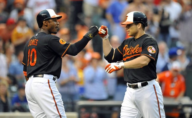 Jul 12, 2013; Baltimore, MD, USA; Baltimore Orioles first baseman Chris Davis (19) is congratulated by Adam Jones (10) after hitting a two-run home run in the second inning against the Toronto Blue Jays at Oriole Park at Camden Yards. Mandatory Credit: Joy R. Absalon-USA TODAY Sports
