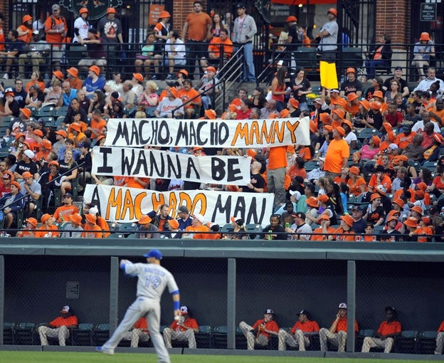 Jul 12, 2013; Baltimore, MD, USA; Baltimore Orioles fans hold up a sign in support of Manny Machado (not shown) during a game against the Toronto Blue Jays at Oriole Park at Camden Yards. Mandatory Credit: Joy R. Absalon-USA TODAY Sports