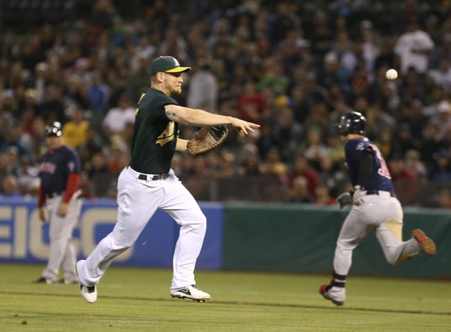 Jul 12, 2013; Oakland, CA, USA; Oakland Athletics first baseman Brandon Moss (37) throws the ball home for an out at home plate against the Boston Red Sox during the ninth inning at O.co Coliseum. Mandatory Credit: Kelley L Cox-USA TODAY Sports