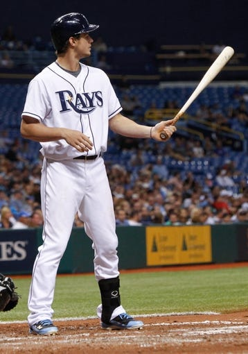 Jul 5, 2013; St. Petersburg, FL, USA; Tampa Bay Rays right fielder Wil Myers (9) at bat against the Chicago White Sox at Tropicana Field. Mandatory Credit: Kim Klement-USA TODAY Sports