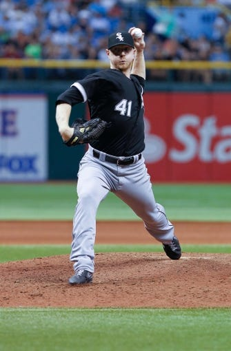 Jul 5, 2013; St. Petersburg, FL, USA; Chicago White Sox starting pitcher David Purcey (41) throws a pitch against the Tampa Bay Rays at Tropicana Field. Mandatory Credit: Kim Klement-USA TODAY Sports