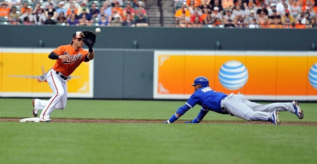 Jul 13, 2013; Baltimore, MD, USA; Toronto Blue Jays left fielder Emilio Bonifacio (1) is caught stealing second base by Baltimore Orioles infielder J.J. Hardy (2) applies the tag in the third inning at Oriole Park at Camden Yards. Mandatory Credit: Joy R. Absalon-USA TODAY Sports