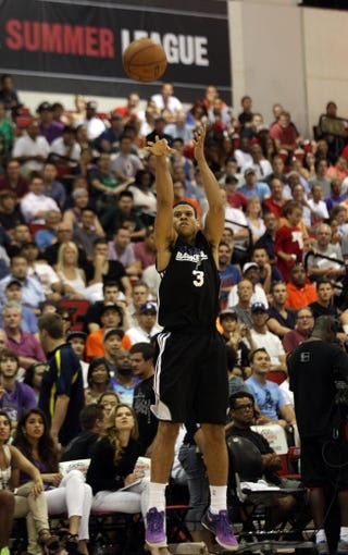Jul 13, 2013; Las Vegas, NV, USA; Sacramento Kings guard Ray McCallum takes a jump shot against the Dallas Mavericks during the second quarter of an NBA Summer League game at Cox Pavillion. Mandatory Credit: Stephen R. Sylvanie-USA TODAY Sports