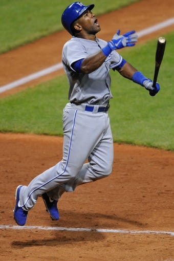 Jul 13, 2013; Cleveland, OH, USA; Kansas City Royals second  baseman Miguel Tejada (24) reacts after lining out to end the eighth inning against the Cleveland Indians at Progressive Field. Mandatory Credit: David Richard-USA TODAY Sports